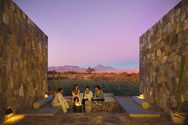 Sitting around fire pits at the Tierra Atacama Hotel