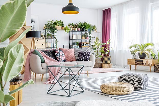 Beautiful living room filled with plants