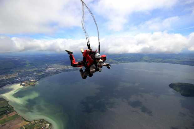Karen tried skydiving in New Zealand