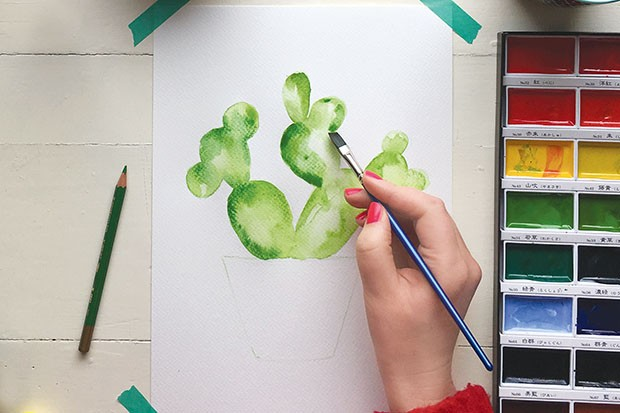 How to paint a watercolour cactus step 4