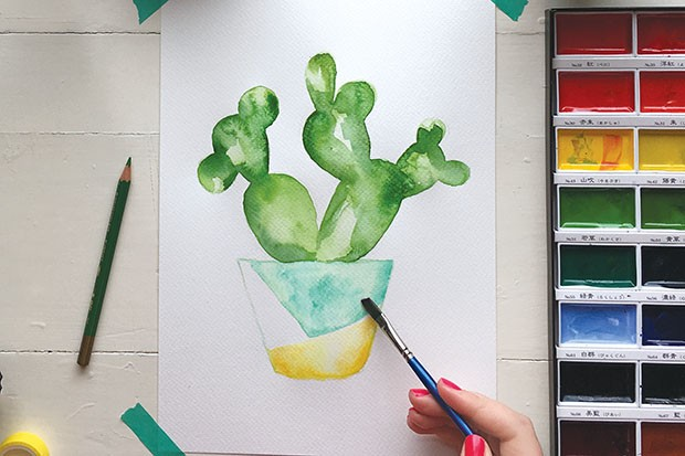 How to paint a watercolour cactus step 5