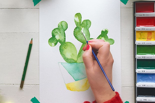 How to paint a watercolour cactus step 6
