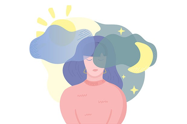 Woman with insomnia illustration