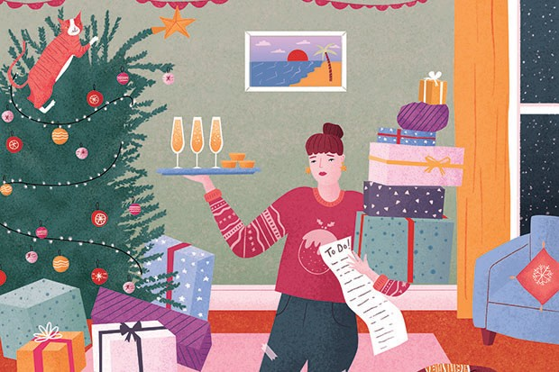 A busy Christmas scene illustration
