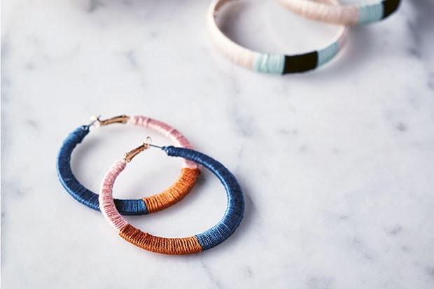 Colourblock hoop earrings