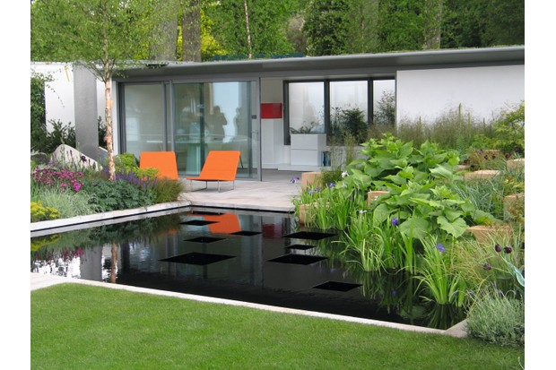 A modern garden office with glass panel doors opening onto a patio and garden pool