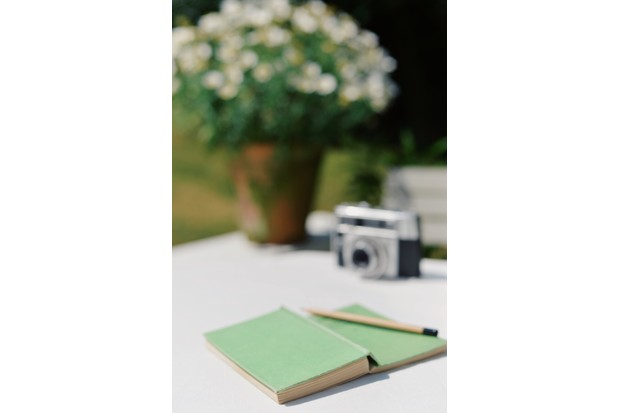 Book and pencil on garden table with old camera and summer flowers in garden