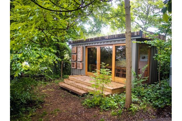 A contemporary garden studio made from a shipping container makes an ideal garden room