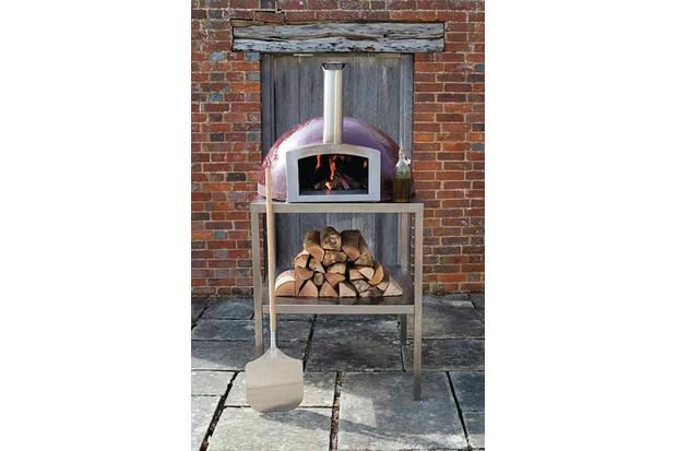 Woodfired outdoor pizza oven in aubergine by Blistering Woodfired Ovens