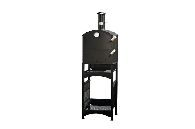 Firebrick lined steel garden oven with wood handles and chimney cap by The Garden Oven Company