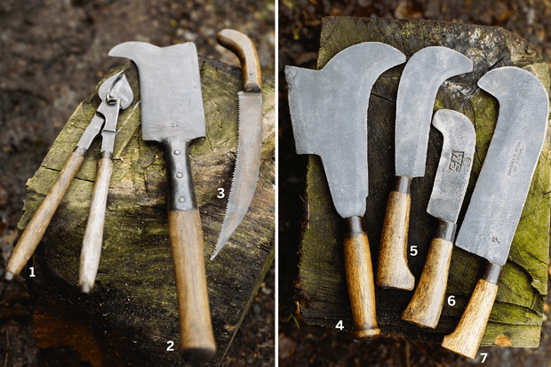 Traditional vintage tools for hedgelaying