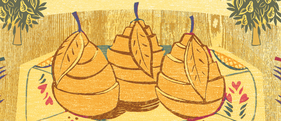 An illustration of pears, wrapped in pastry