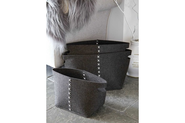Slate grey set of felt bags finished with contrasting ivory stitch detailing by Nordic House