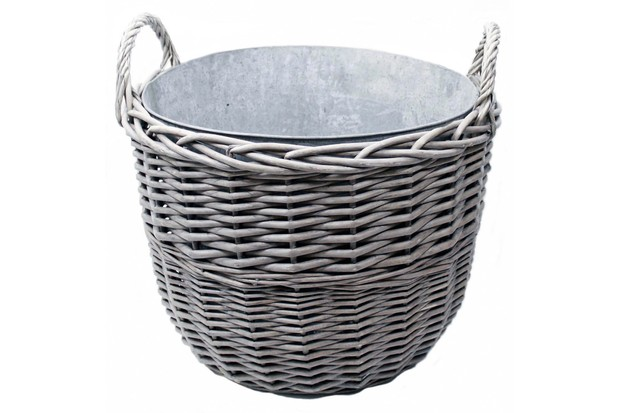 Greyed willow basket lined with lightweight zinc by Rowen & Wren