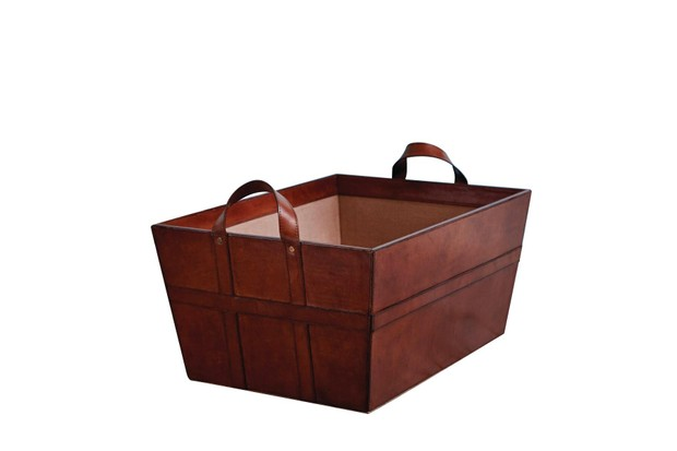 Hand crafted leather log and wood storage basket in chestnut finish with two carry handles by Candle and Blue