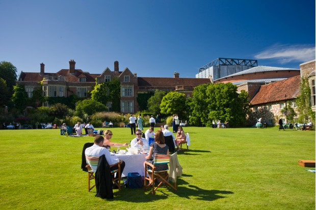 UNITED KINGDOM - JULY 30: Opera-lovers attend annual Glyndebourne Opera Festival and picnic in the grounds, Glyndebourne, East Sussex, UK (Photo by Tim Graham/Getty Images)