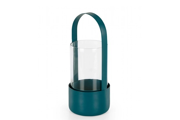 Lau industrial style lantern in bold teal colour fitted with sturdy handle