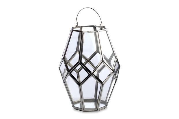 Mohani Silver metal surround geometric style lantern with handle.