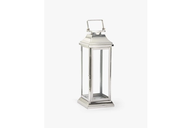 Tall silver steel and glass lantern. Featuring a top handle and a classic, minimalist and elegant design by Zara
