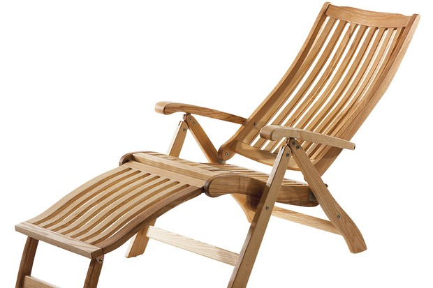 Brown ash oiled wooden deck chair; galvanised steel.