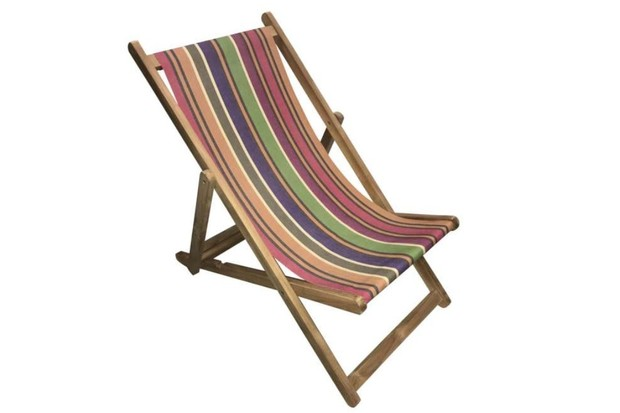 Traditional British garden folding deckchair, made of grade A Teak covered in a deckchair sling of subtle, pretty earthy shades of caramel, beige, purple, green damson and dark brown.