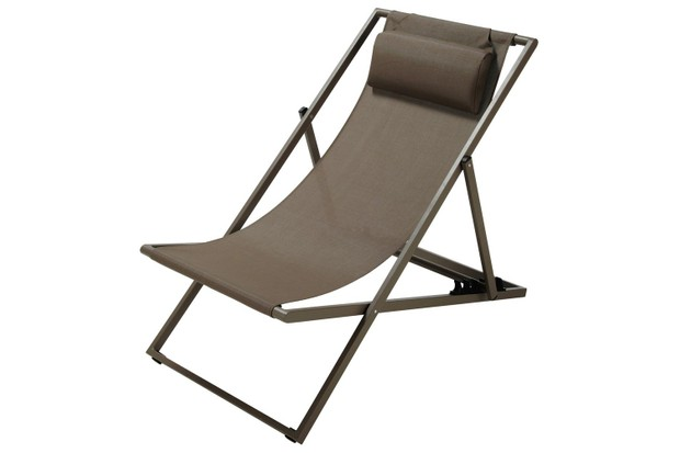 Taupe Canvas and Metal Folding Deckchair