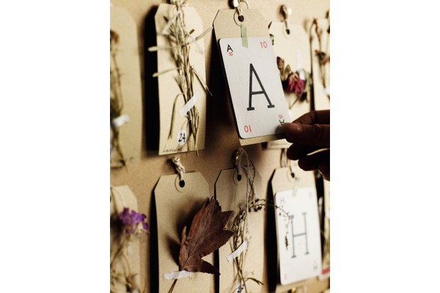 A close up of the floral advent calendar