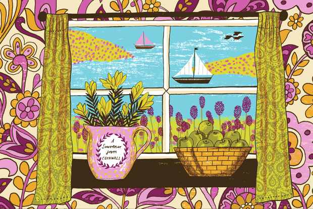 Colourful illustration by Alice Pattullo of a window overlooking a sea view in Cornwall