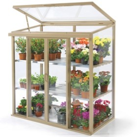 A photo of a patio mini greenhouse
