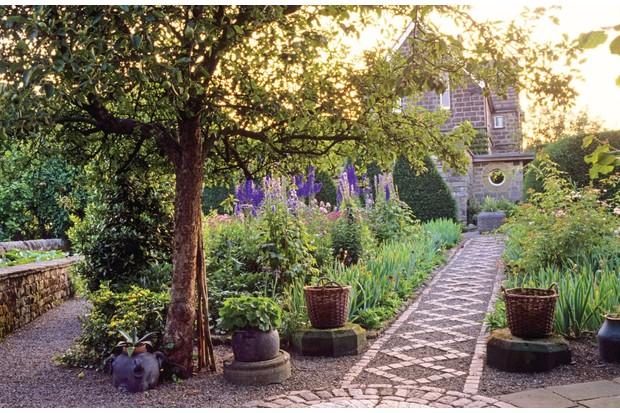 Ornamental main pathway through a garden