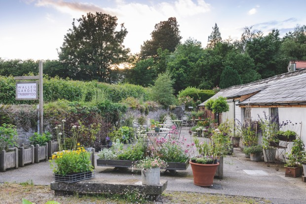 Front of Treberfydd Walled Garden Plant Nursery in Powys, Wales.