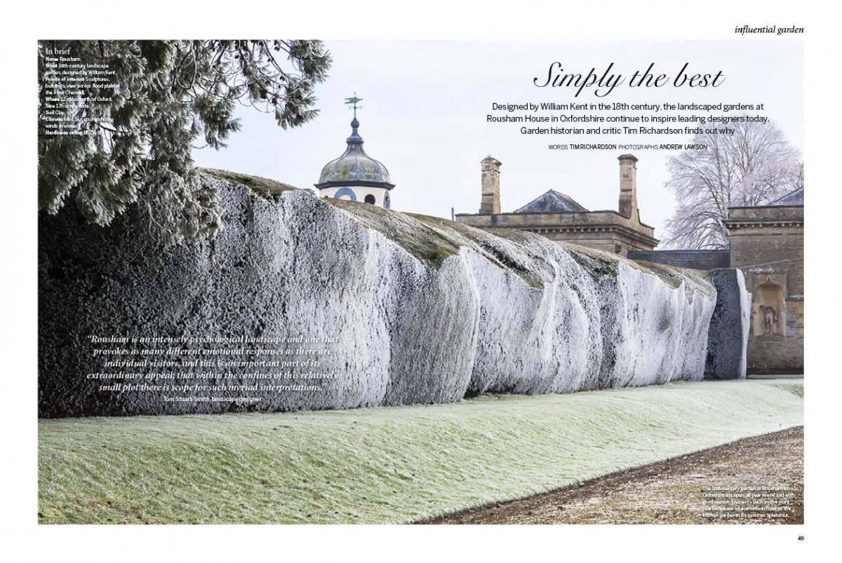 A magazine page showing the landscape of a Rousham Garden