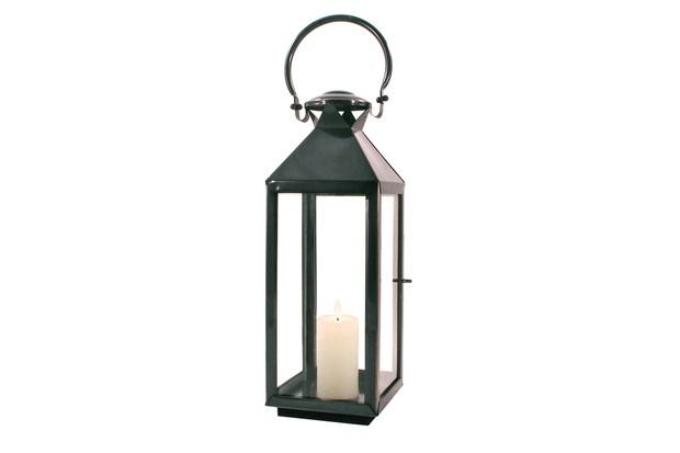 Chelsea Lantern by Worm. Tall slim black/bronzed finish lantern with handle