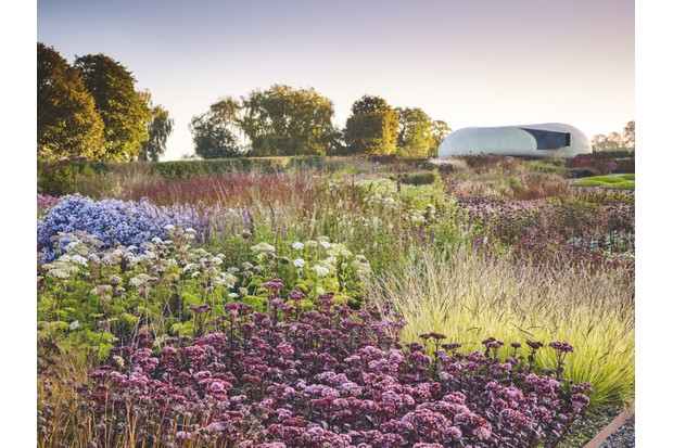 Central beds seem to merge in a single mass of plants: with dark-purple Sedum 'Matrona' and the creamy, flat-topped umbels of Selenium wallichianum. At the top of the garden is Smiljan Radić's squat fibreglass pavilion.