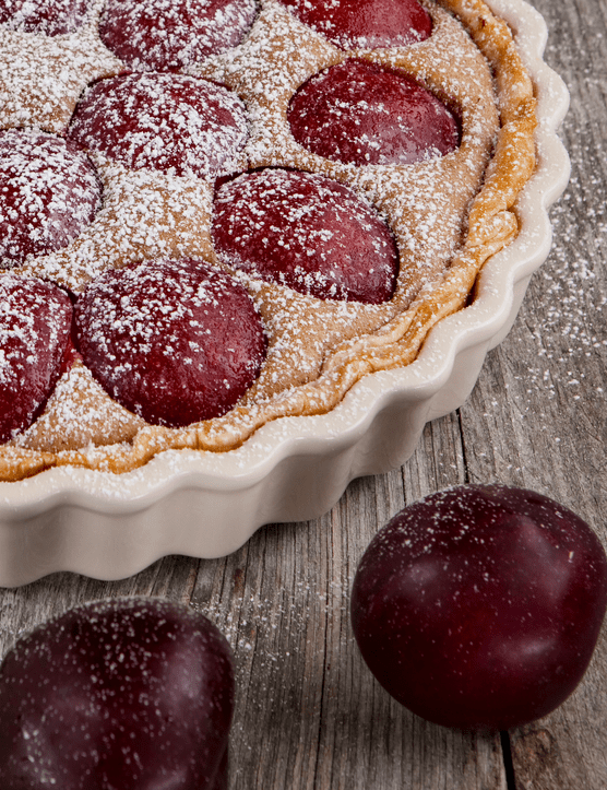 Plum and almond tart. Photo Getty Images
