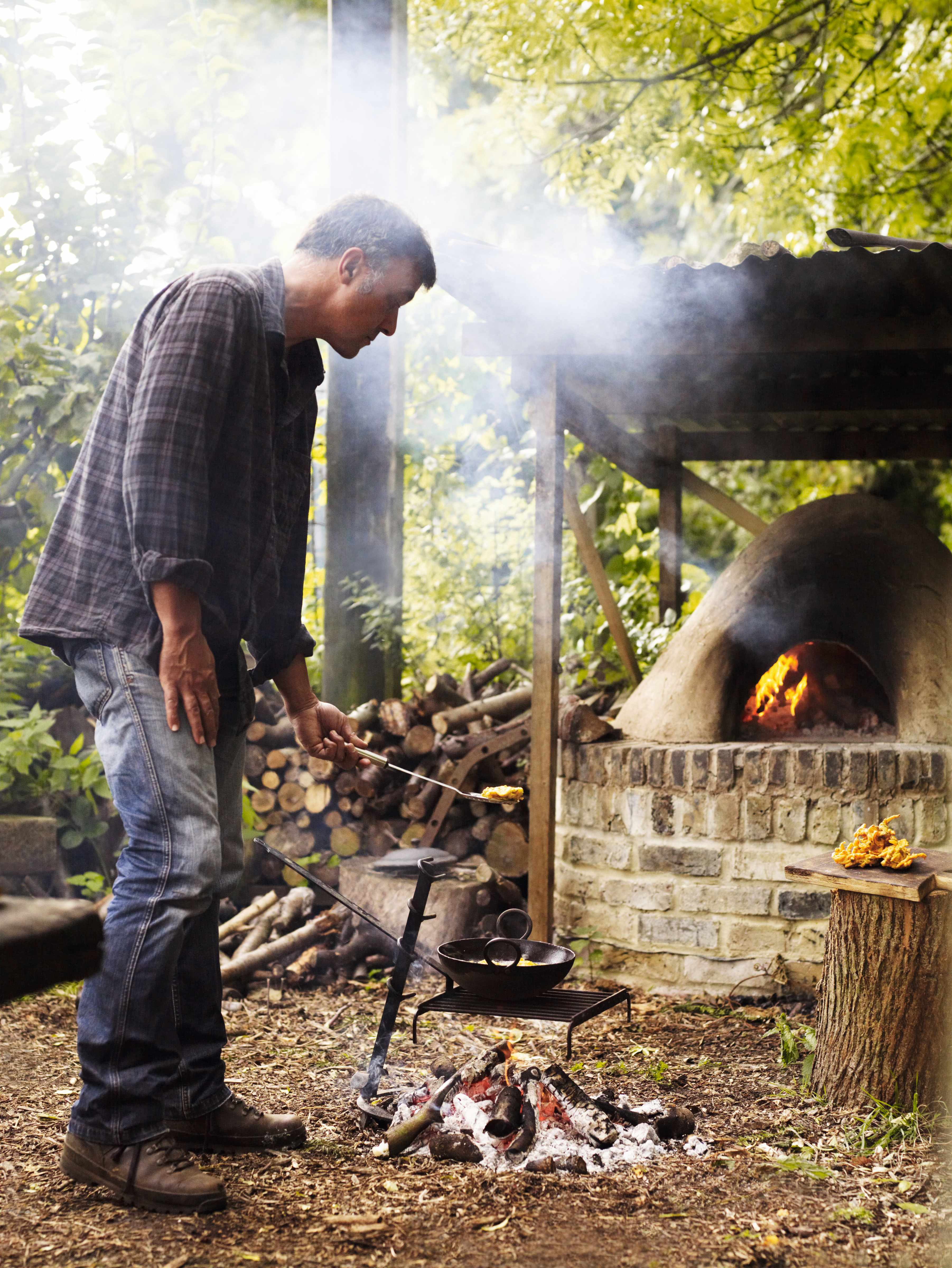 Garden designer Cleve West shares recipes cooked on an outdoor fire on his allotment garden