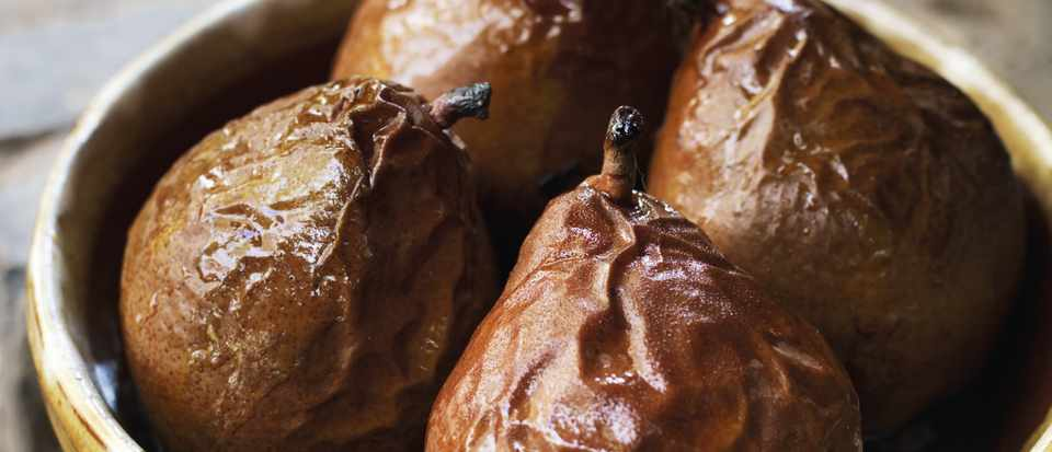 A skye Gyngell recipe for baked pears with honey, marsala and wine