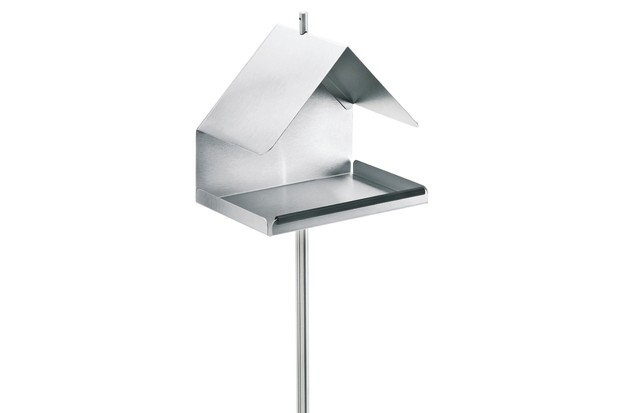 Sleek aluminum bird feeder with landing table and pitched roof
