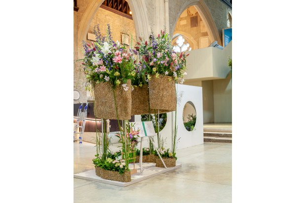 2018 British Flowers Week display by Evolve Flowers in the Garden Museum
