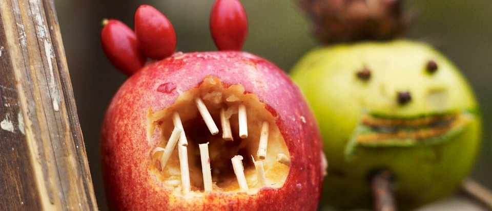 Scary apples for halloween and apple day