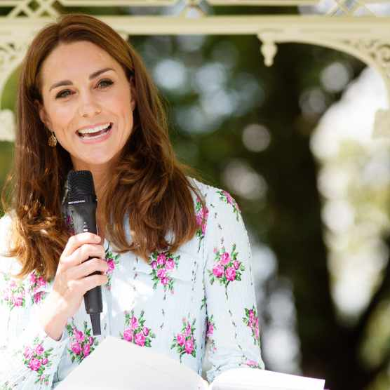 Catherine, Duchess of Cambridge speaks during the launch of her Back to Nature Garden and the Back to Nature Festival at RHS Garden Wisley