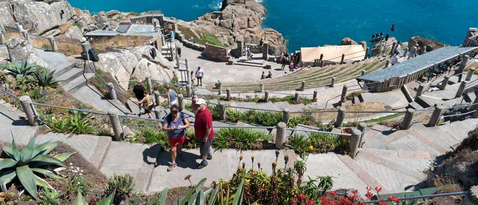 Visitors at the minack an open air theatre near Porthcurno in Cornwall,