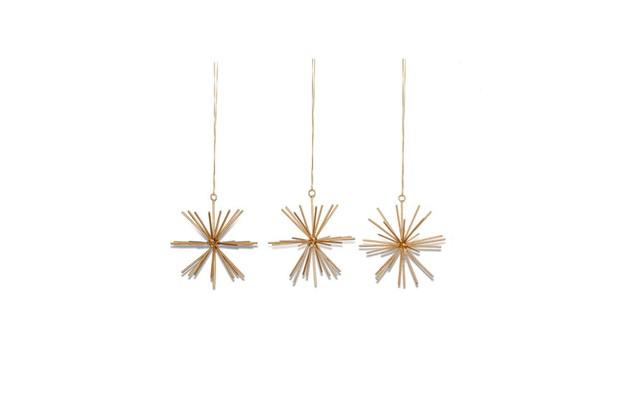 Nkuku Dagari Star Brass Decoration set of 3