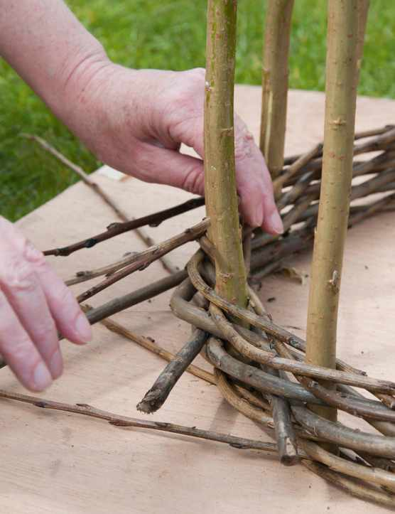 Making a woven willow obelisk