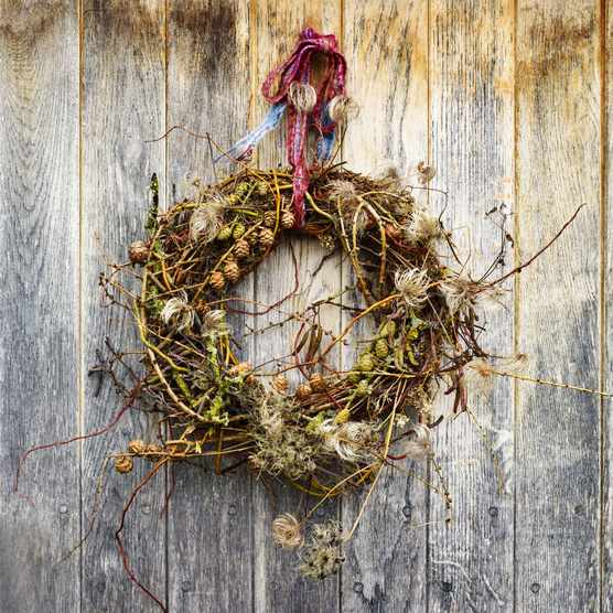 Wreath made from natural materials
