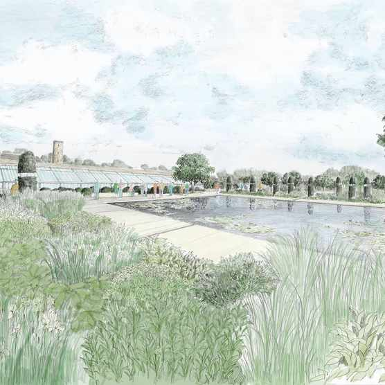 Artist's impression of the new Walled Garden at RHS Bridgewater A paradise garden concept within a walled garden will be a beautiful flower garden with a tranquil lily pond at RHS Bridgewater