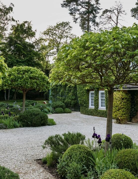 Paterre approach at Wentworth estate garden in surrey