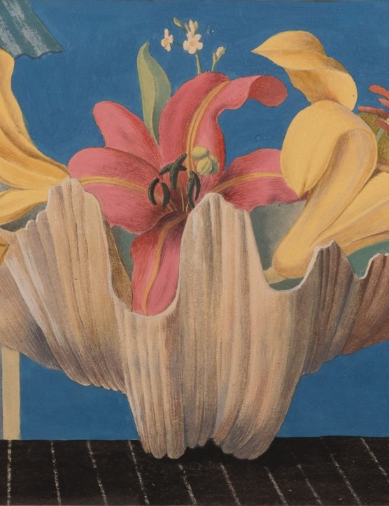 Gerald Leet (1913-1998), Yellow and pink lilies on a window ledge overlooking the sea.