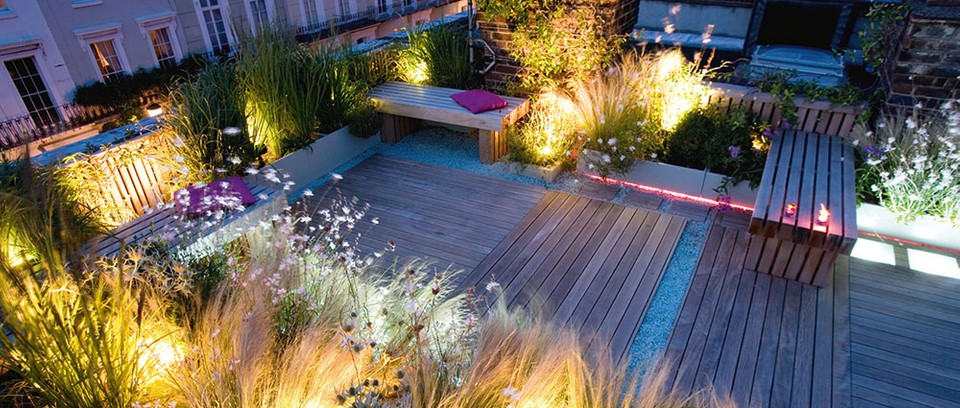 Colourful garden with decking