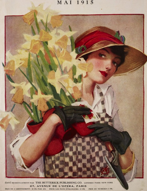 A woman, wearing gardening clothes, holds a bunch of narcissus flowers, illustration from the magazine Le Miroir des Modes